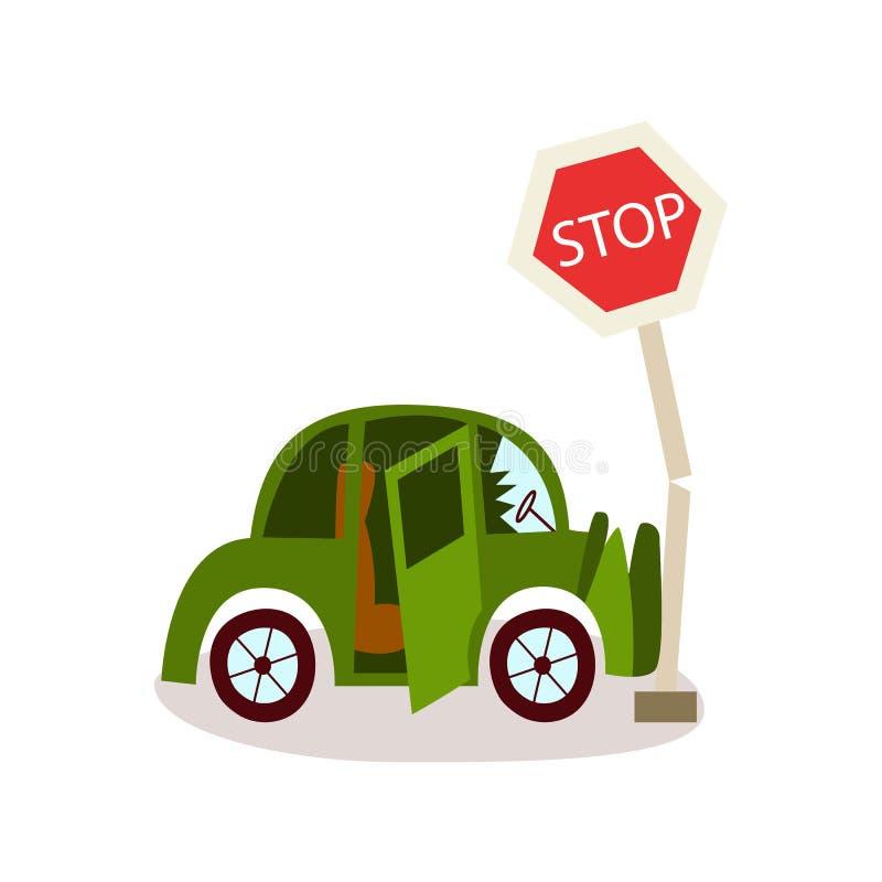Vector il veicolo piano schiantato nel segnale stradale di arresto illustrazione vettoriale