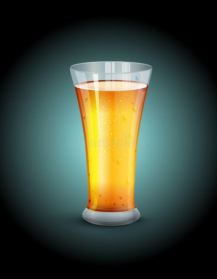 Vector il vetro con la bevanda sui precedenti blu scuro illustrazione vettoriale