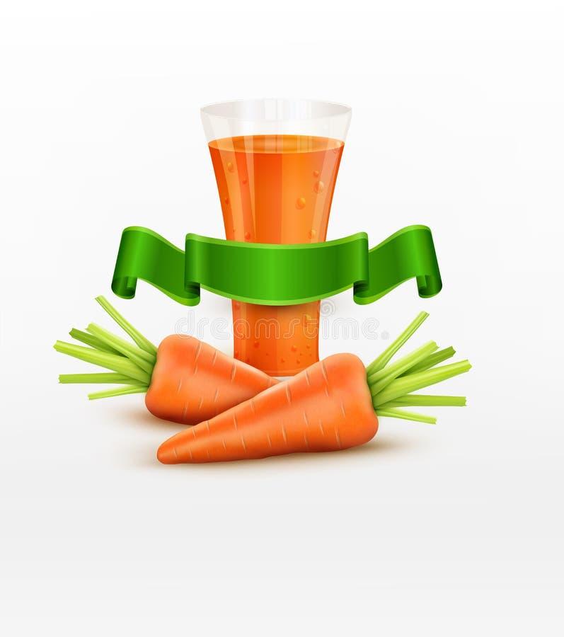 Vector il vetro del succo di carota e di due carote isolati su bianco illustrazione vettoriale