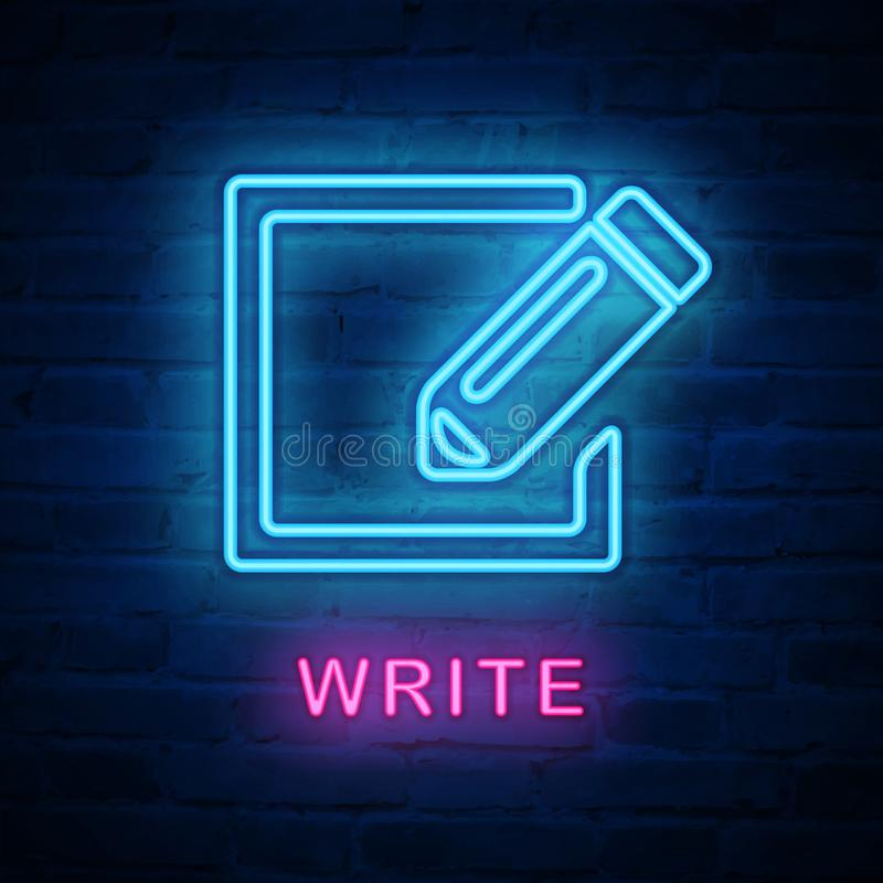 Vector illuminated neon light icon sign pencil write stock illustration