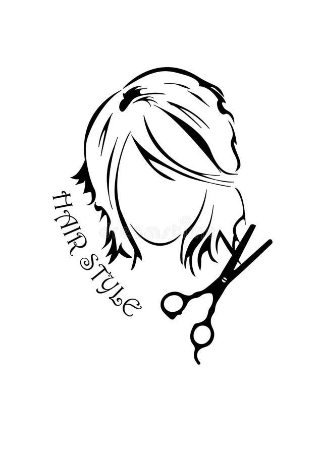 Vector illusration van meisje met lang haar vector illustratie