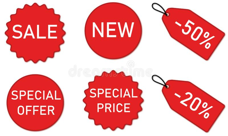 Discount Stickers and Banners set red. Vector illustartion of red stickers and labels isolated for products price reduction royalty free illustration