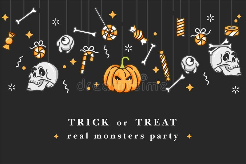 Vector illustartion set of linear icons for Happy Halloween. Badges and Labels for party and fair. Trick or treat. Stickers. Background celebration vector illustration