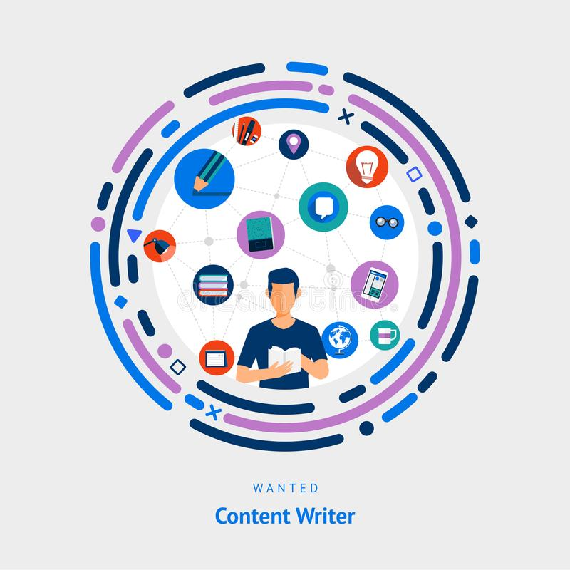 Vector illustrate flat design concept content writer creative idea skill for get job or success people. vector illustration