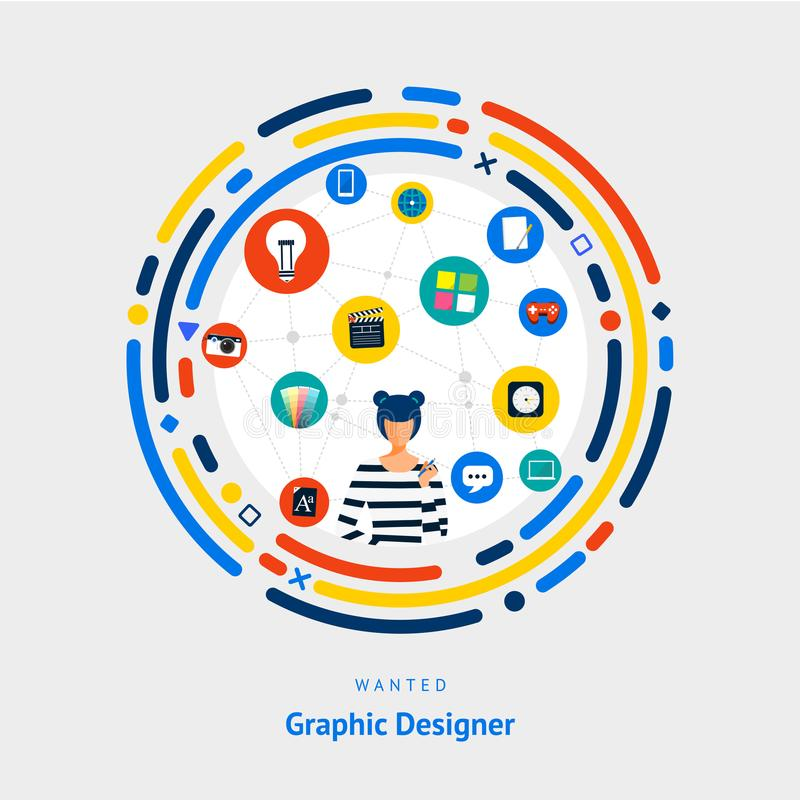 Vector illustrate flat design concept graphic designer. creative idea skill for get job or success people. royalty free illustration