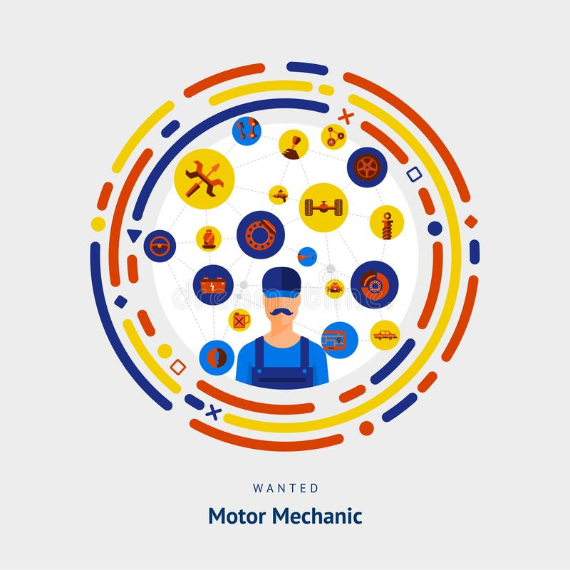 Vector illustrate flat design concept motor mechanician skill. stock illustration