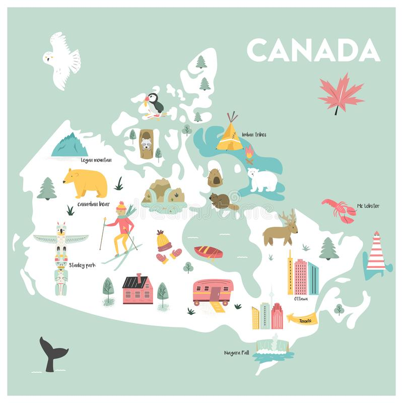 Vector illustrated cartoon map of Canada. With symbols, animals, famius destinations royalty free illustration
