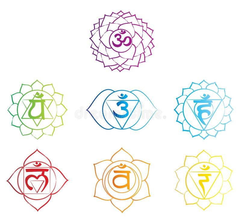Chakras symbols sketch royalty free illustration