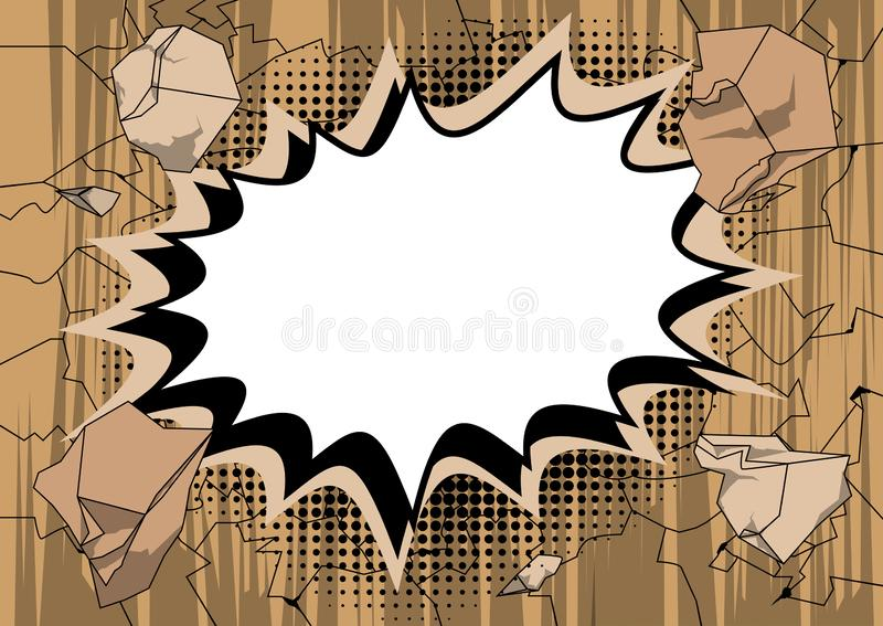 Vector illustrated comic book style explosions background royalty free illustration