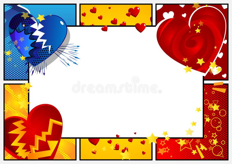 Comic book love background with hearts and white copy space. Vector illustrated retro comic book background with hearts and white copy space, pop art vintage royalty free illustration