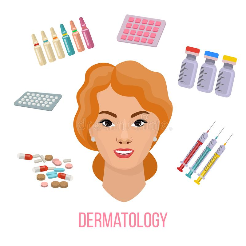 Vector Illustrated set with cosmetology micro needle mesotherapy and medical treatment for face skin. Infographics with royalty free illustration