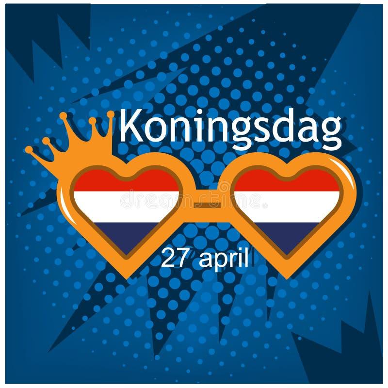 Vector illustratie achtergrond Nederland Koningsdag van 27 April, Konings` s Dag ontwerpen voor affiches, achtergronden, kaarten, vector illustratie