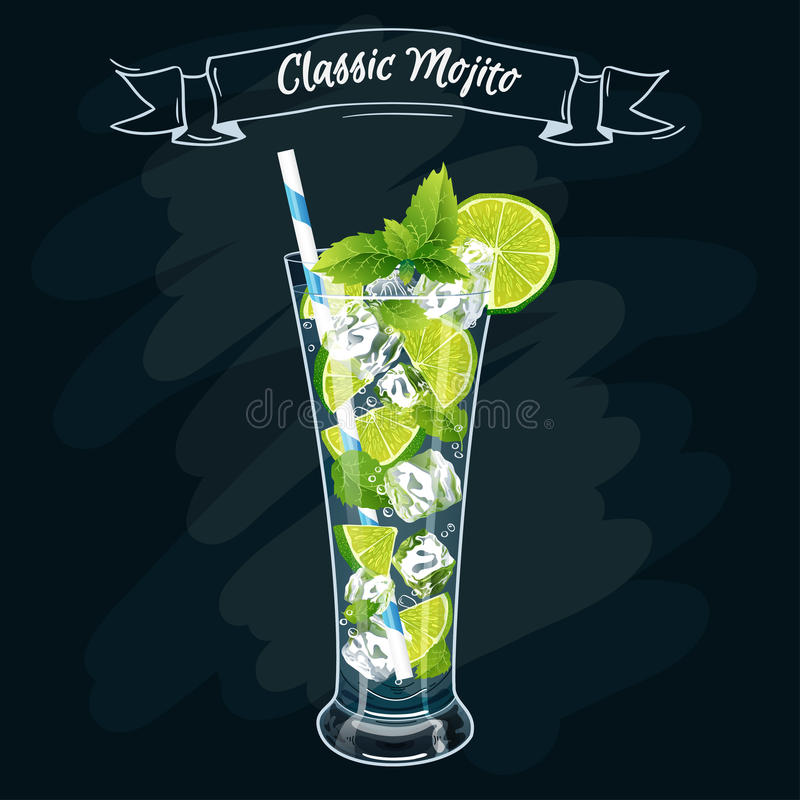 Vector illustratie Alcoholische cocktail Mojito royalty-vrije illustratie