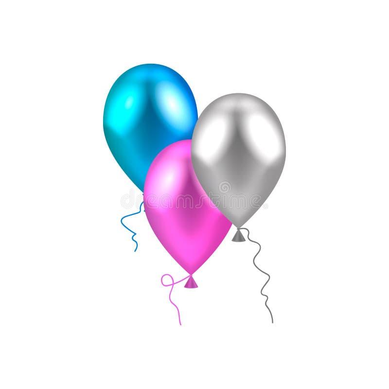 Vector illustratie ballons blauw roze zilver stock illustratie