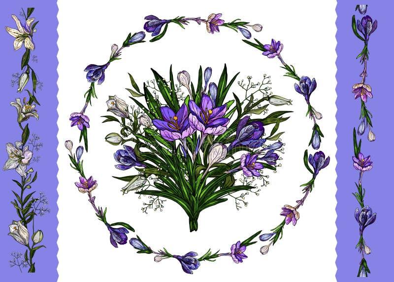 Vector illustratie Bloemenmalplaatje van bloemendiebos, kroon van lelies en krokussen en grenzen op wit worden geïsoleerd stock illustratie