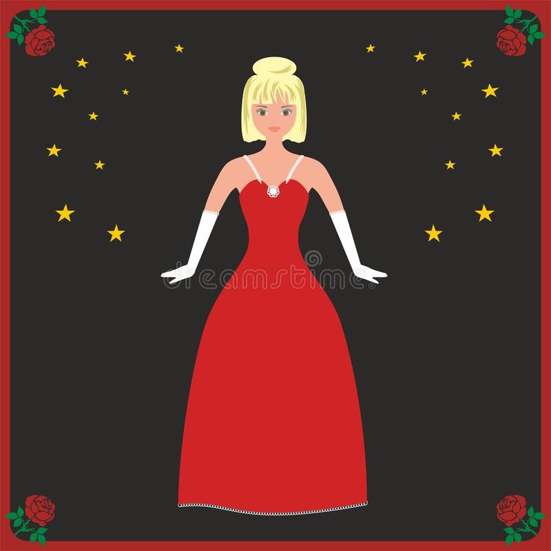 Vector illustratie Blonde vrouw in rode kleding tegen zwarte hemel met sterren vector illustratie