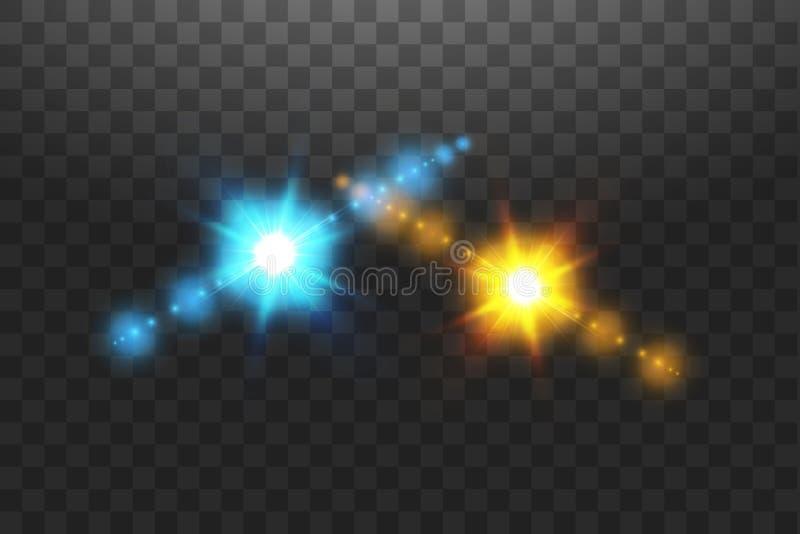 Vector illustratie Botsing van twee krachten van blauwe en gouden magische glans Toewijzing van koude en hete energie vector illustratie