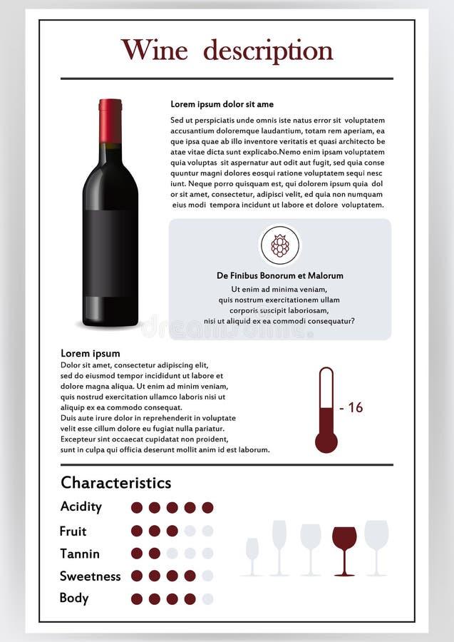 Vector illustratie Brochure, vorm die de kenmerken van rode wijn beschrijven Voertemperatuur, korte beschrijving, geschiedenis vector illustratie