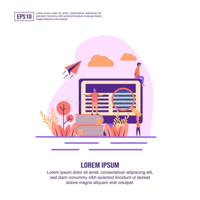 Vector illustratie concept e learning Moderne illustratie conceptueel voor banner, flyer, bevordering, marketing materiaal, onlin vector illustratie