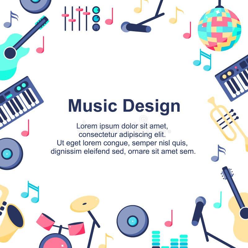Vector illustratie De affiche van het muziekontwerp met muzikale instrumenten op witte achtergrond Backgroud voor verschillende o royalty-vrije illustratie