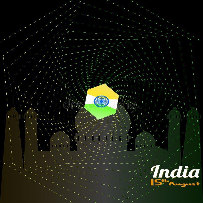 Vector illustratie De creatieve Indische Nationale achtergrond van de Vlagkleur met Ashoka-Wiel 15 van Augustus voor Gelukkige On vector illustratie