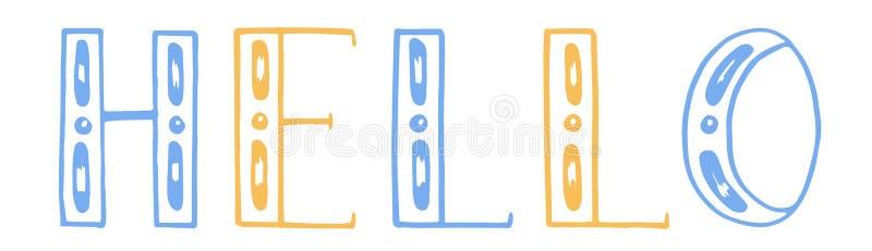 Vector illustratie de kleurenhand trekt het van letters voorzien hello Witte achtergrond Geel en blauw vector illustratie