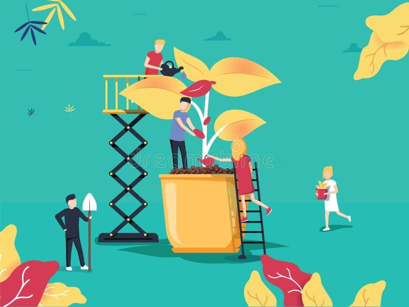 Vector illustratie de mensen kweken installaties in potten phytomodule voor stock illustratie