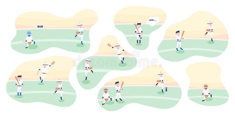 Vector illustratie De spelers van het honkbalbeeldverhaal stock illustratie