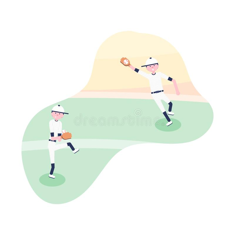 Vector illustratie De spelers van het honkbalbeeldverhaal royalty-vrije illustratie