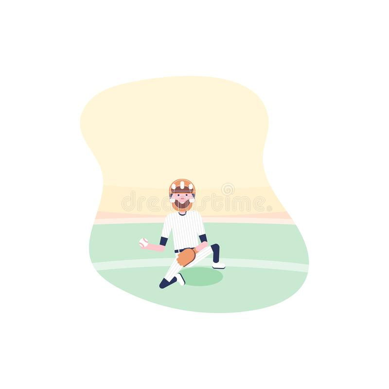 Vector illustratie De spelers van het honkbalbeeldverhaal vector illustratie
