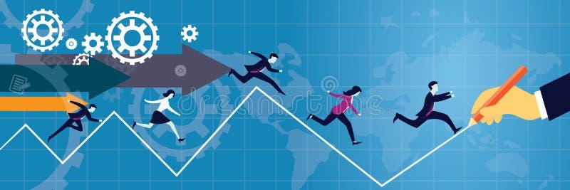Vector illustratie De stokvoering en de holdingshamer van de bedrijfs de concurrentieconcept stock illustratie
