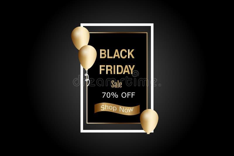 Vector illustratie De Verkoopbanner van luxeblack friday met gouden ballon en gouden lint vector illustratie