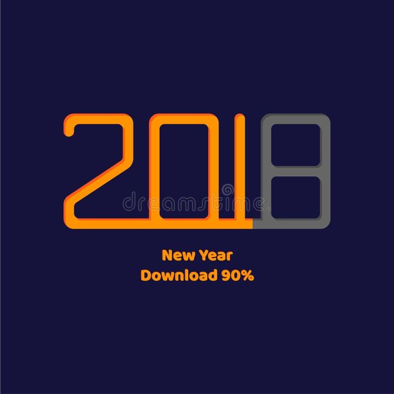 Vector illustratie Download Nieuw jaar 2018 stock illustratie