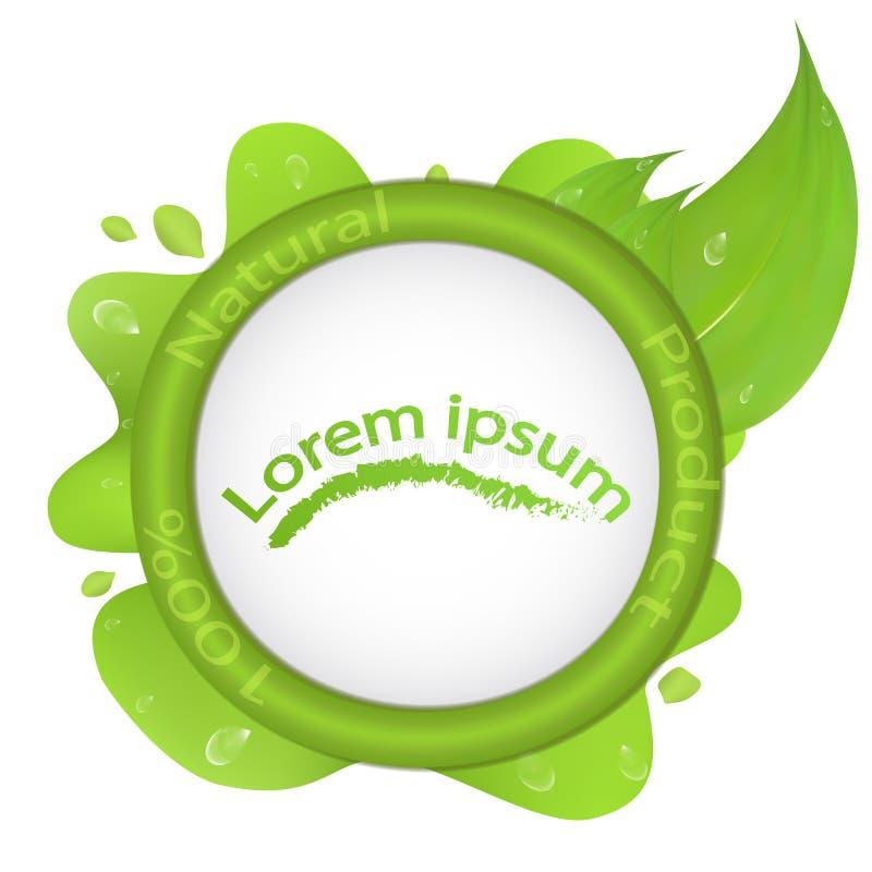 Vector illustratie Embleem 100 natuurlijk product, met groen blad en dalingen van dauw royalty-vrije illustratie