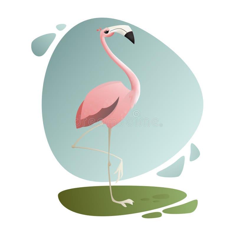 Vector illustratie Exotische dieren Tropische vogel Roze flamingo die weg eruit zien stock illustratie