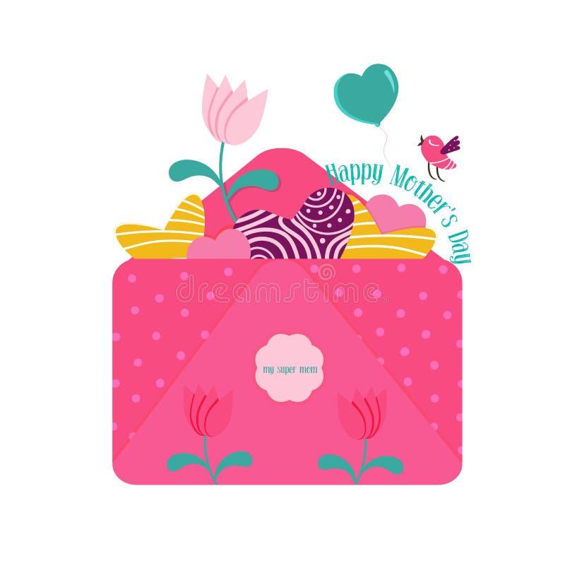 Vector illustratie Felicitatiebrief voor moeders dag royalty-vrije illustratie