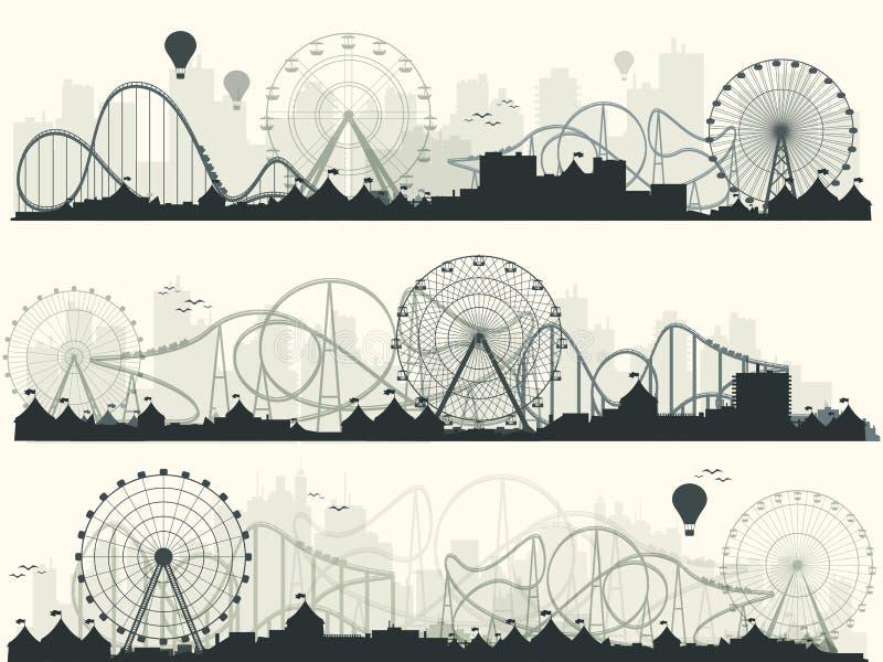 Vector illustratie Ferris Wheel Carnaval Funfairachtergrond Circuspark De achtbaan in Wenen wauwelt stock illustratie