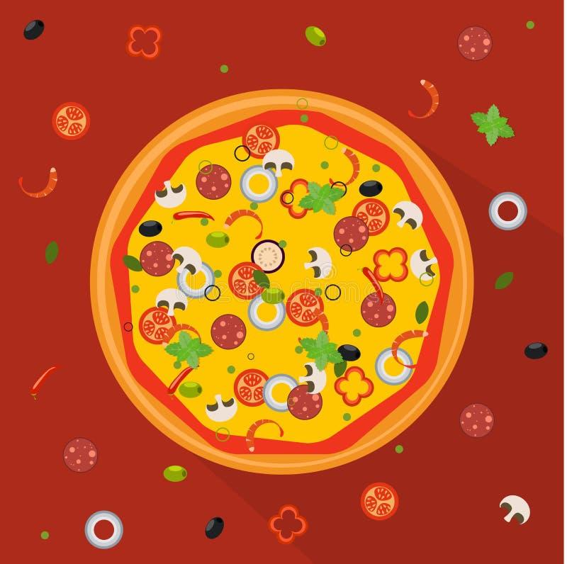 Vector illustratie Geïsoleerde pizza, traditionele ingrediënten vector illustratie