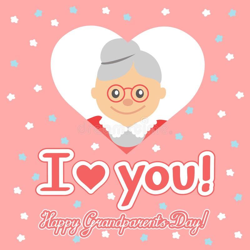 Vector illustratie Gelukkige grootoudersdag Bejaarde in hart met het van letters voorzien vector illustratie