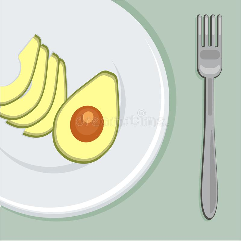 Vector illustratie Gezond ontbijt met avocado op de plaat met vork royalty-vrije stock afbeelding