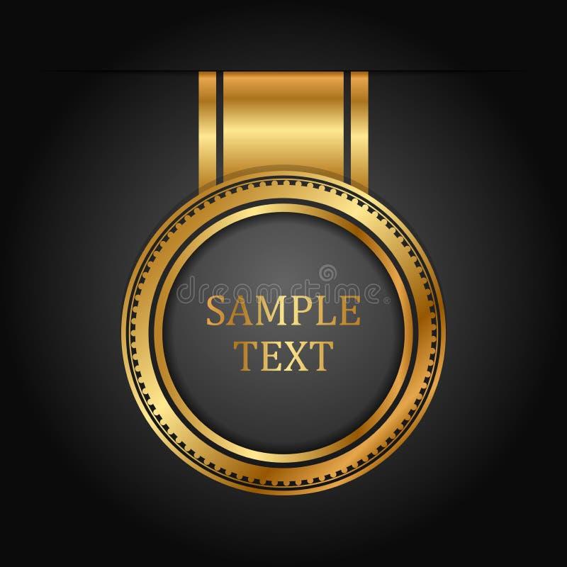 Gouden etiket op zwarte stock illustratie