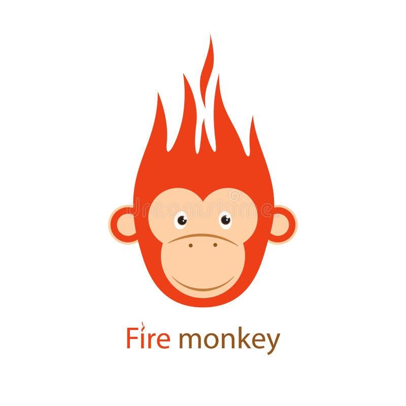 Vector illustratie Grappige Roodharige vurige aap stock illustratie