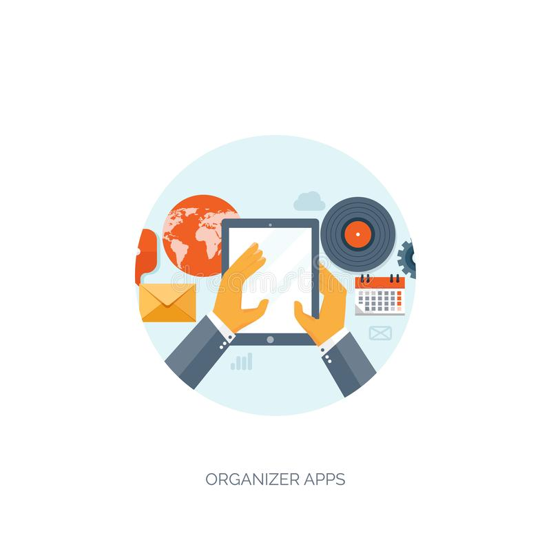 Vector illustratie Groeten over de Wereld Sociaal netwerk, het babbelen Per e-mail versturen, sms Webvraag Internet royalty-vrije illustratie