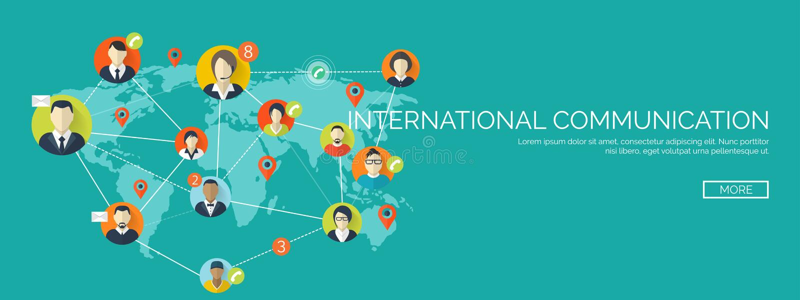 Vector illustratie Groeten over de Wereld Sociaal netwerk, het babbelen Per e-mail versturen, sms Webvraag Internet stock illustratie