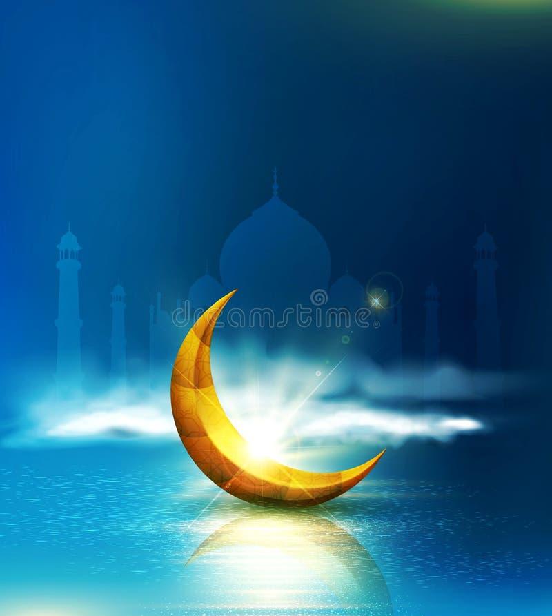 Vector illustratie Groetkaart aan Ramadan Kareem met 3d gol royalty-vrije illustratie