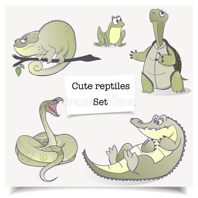 Vector illustratie Hand-drawn dieren Reeks inzamelingen van beeldverhaalreptielen stock afbeeldingen