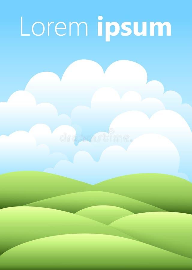 Vector illustratie Helder aardlandschap met hemel, heuvels en gras Landelijk landschap Gebied en weide vector illustratie