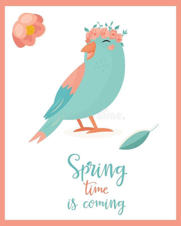Vector illustratie Hello-de lentevogel vector illustratie
