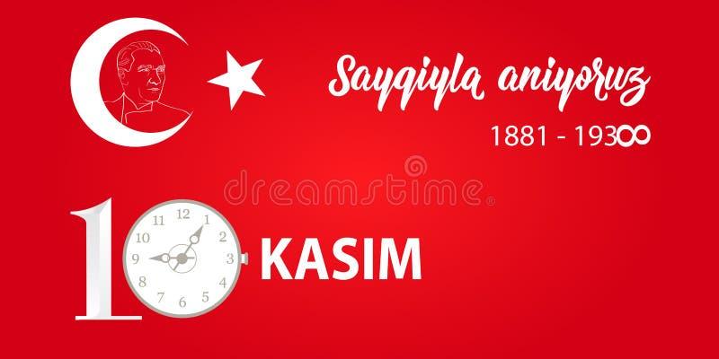 Vector illustratie herdenkingsdatum 10 November dood dag Ataturk Het Engels: 10 november, eerbied en herinnert zich royalty-vrije illustratie