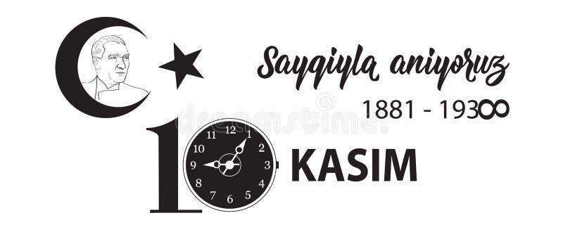 Vector illustratie herdenkingsdatum 10 November dood dag Ataturk Het Engels: 10 november, eerbied en herinnert zich vector illustratie
